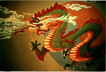 Chinese Red Dragon Painting